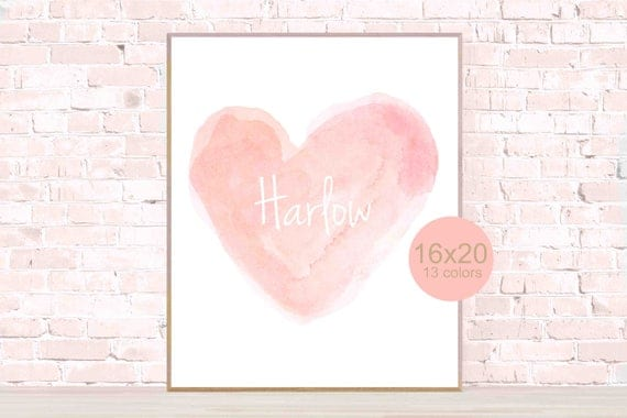 "Personalized Heart Poster, 16x20, 12""x16"""
