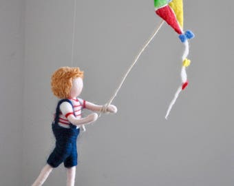 Boys Room Decoration Waldorf Inspired Needle Felted wall hanging doll : Boy with  kite