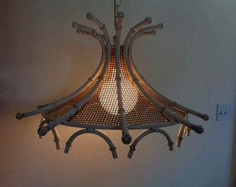 Vintage Mid Century Faux Bamboo and Wicker Hanging Swag Lamp