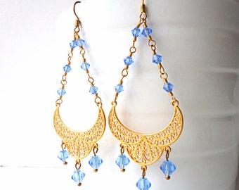 Sapphire earrings, Chandelier Earrings, vintage style earrings, long earrings, summer trends 2018, glam earrings, romantic earrings
