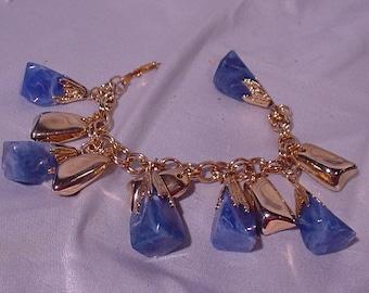 Delightful Blue and Gold Plastic Bracelet Mid Century 1950-60s Dangler Good Fun!