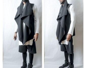 Vest Waterproof Asymetical Drape Front Vest