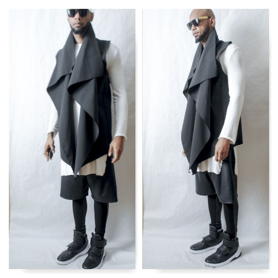 Vest Waterproof Asymetical Drape Front Vest-Inspired By Y3 Yeezy Rick Owens