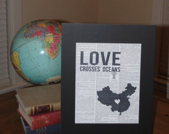 Love Crosses Oceans (China) - Vintage Adoption Word  Art