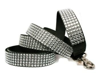 """Silver Rhinestone Dog Leash 5/8"""", 3/4"""" or 1"""" Black Sparkle Dog Leash"""