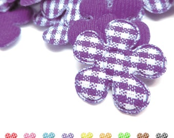 "100pcs x 7/8"" Gingham Cotton Flower Padded/Appliques"