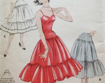 1950s Ruffled Slip / Petticoat Sewing Pattern / Butterick 7361 / Size 14