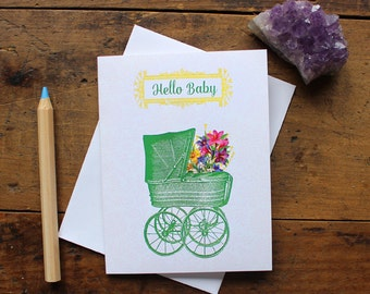 Baby Greeting Card Handmade - Note Card -  Stationery - Wish - Baby Shower Card - New Baby Card - Baby Boy or Girl