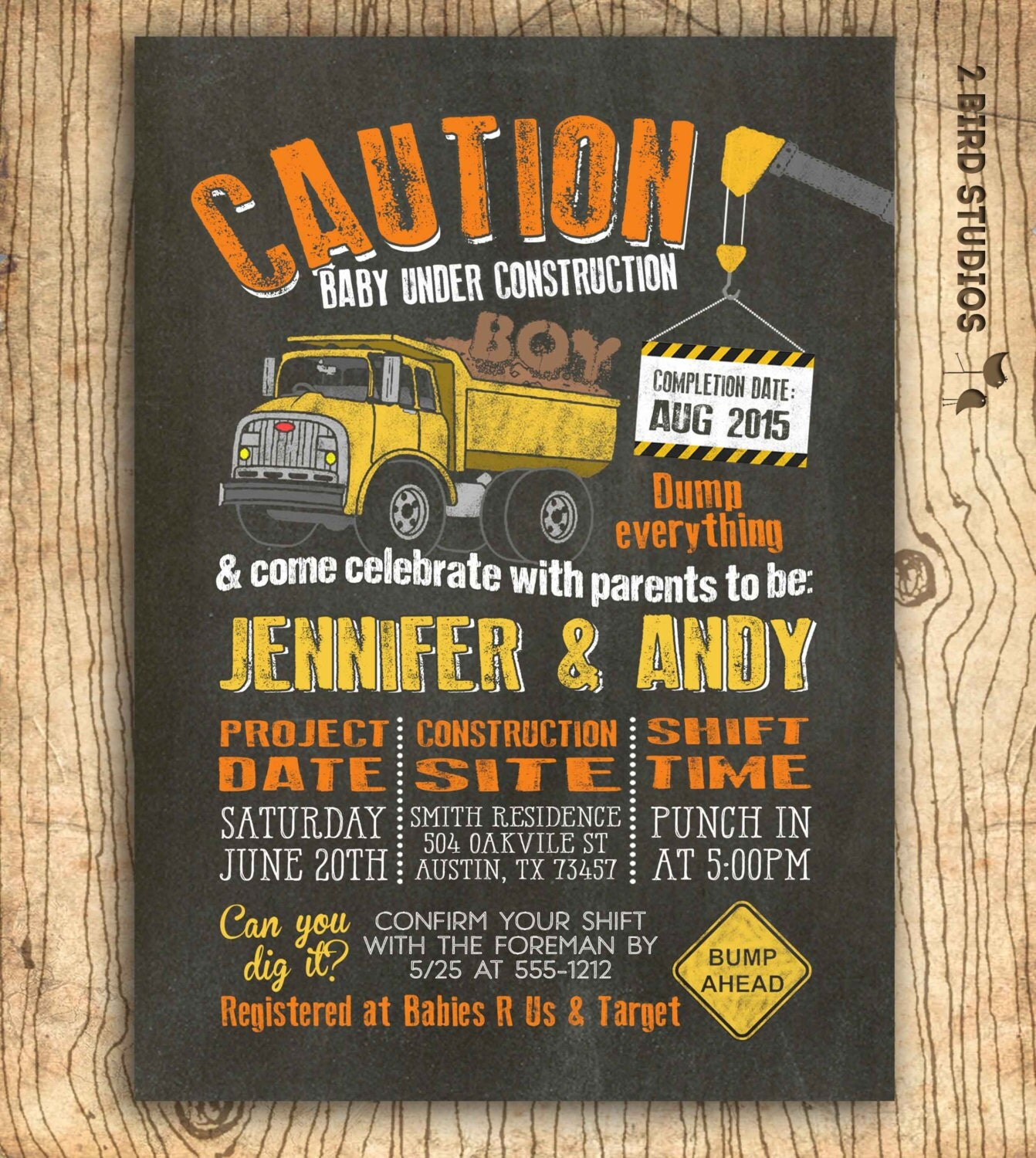 Construction baby shower invitation Boy baby shower
