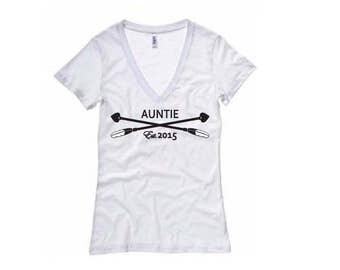 Auntie Est. 2015 Momlife Shirt - Womens V-Neck T-Shirt. Long Length Tee. Black, White, Grey