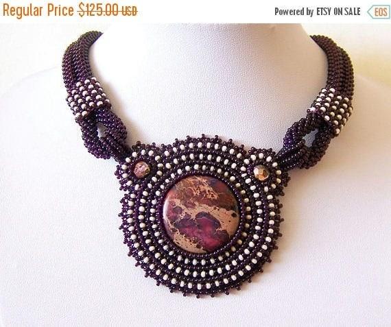 15% SALE Purple Statement necklace - Beadwork Bead Embroidery Pendant Necklace with Purple Sea Sediment Jasper - Fall Fashion - purple - bei