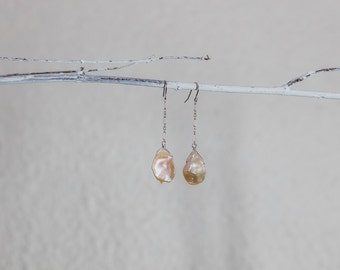 Long Pearl Earrings-Freshwater Dangle Earrings-Drop Earrings With Peach Keishi Pearls-Chain and Pearl-Gift for Her-Mother's Day