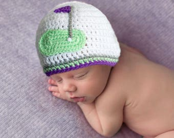 BABY GIRL GOLF Hat, Baby Crochet Hat, Knit Golf Beanie, Crochet Baby Golf, Baby Shower Golf, Baby Golf Gift, Knit Baby Hat, Golf Photo Prop