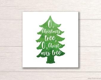 Printable Christmas Decor - Christmas Tree Wall Art - 8 x 8 Home Decor - Festive Holiday Art - 8x10 Art Print - Instant Download - PR02