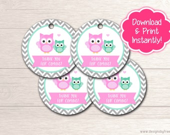 Printable Owl Thank You Favor Tags - Pink & Mint Baby Shower - Owl Baby Shower Package - Instant Download File - BS54