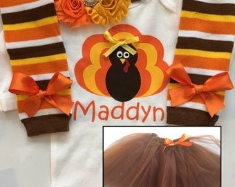 Girl's Thanksgiving outfit - baby girl thanksgiving- turkey shirt - Toddler girl thanksgiving - thanksgiving legwarmers - Thanksgiving tutu
