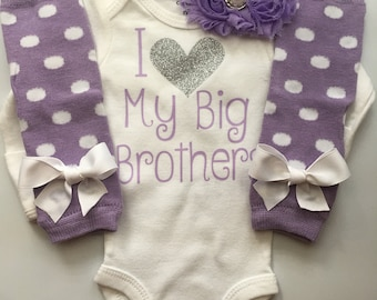 Baby Girl outfit -little sister outfit - Litter sister bodysuit - newborn girl coming home outfit - I love my big brother SET-Purple