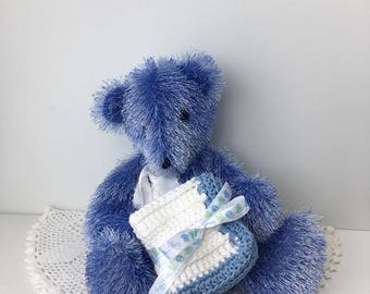 Baby Blues Cotton Crochet Washcloths - Baby Boy Gift - Hand Crocheted Baby Washcloths