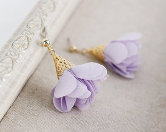 Lavender Flower Earrings, Bridesmaid Flower Earrings, Wedding Earrings, Satin Flower Earrings