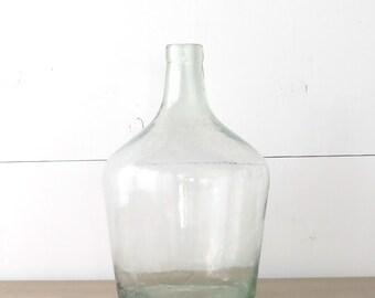 Vintage Demijohn Bottle, Clear Glass, French Wine Bottle, French Country, Farmhouse | BoulderBlueStudio