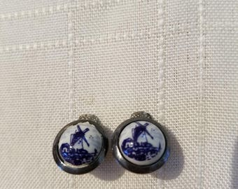 Beautiful Dutch blue and white windmill dainty clip on earrings in silver tone metal