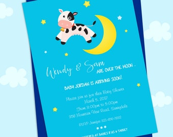 Cow jumped over the moon nursery rhyme baby shower invitation PERSONALIZED pdf or jpg printable