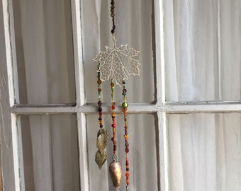 Hanging Bells, Wood Cut Leaf Decor, Hanging Chimes, Leaf Bells, Fall Colors, Leaf Motif Decoration, Beaded String of Bells, Folk Art, Leaves