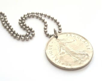 1971 French Coin Necklace  - Stainless Steel Ball Chain or Key-chain