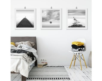 A Set of 3 Wall Art Prints, Triptych Wall Art Set, Black and White photography, Bathroom Prints, Beach House Decor
