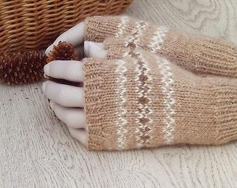 Pure Alpaca fingerless gloves hand knitted wristwarmers fairisle design