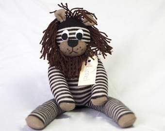 Lionel Lion. Sock animal, sock lion, sock monkey, soft plush toy for children.