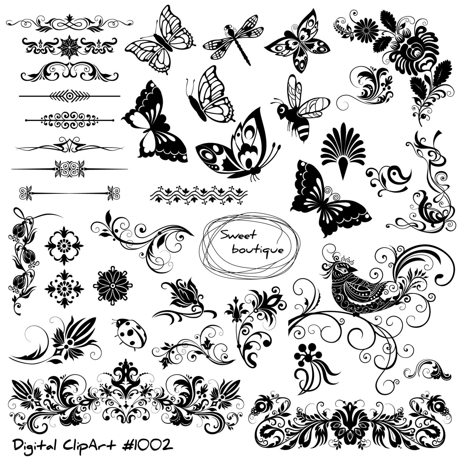 floral text dividers butterfly clip art digital
