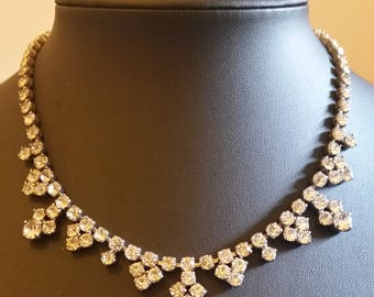 Sparkly Vintage Paste Choker Collar Necklace
