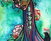 Fine Art Print, All The Birds In My Spine, watercolor, mixed media, illustration.