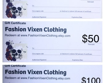 Fashion Vixen Clothing Gift Certificate - 25, 50, 100 dollars
