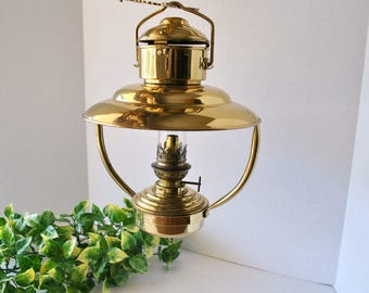 Vintage Gaudard Brass Hanging Ships Oil Lamp Light Lantern, Made in France / United Kingdom, Nautical Lighting