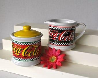 Vintage Coca Cola Rare Ceramic Sugar and Creamer Set Red Yellow Black White Diner Style, Hard to Find Coca Cola Coke Colorful Sugar Creamer