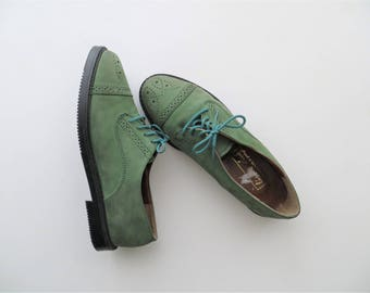 80s Lisbon Oxfords Sea Green with Turquoise Laces Women's Lace Up Brogues US Size 7 1/2