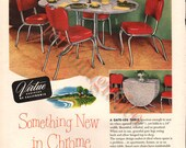Chrome Dinette vintage ad digital download to print, mid century furniture table and chairs