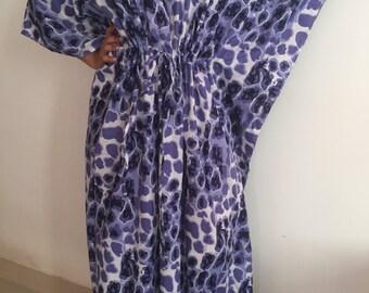 SALE Maxi Dress In Blue, Kaftan Dress,  Cotton Kaftan Dress, Maternity  Dress, Summer Sun Dress, Lounge wear, Resort wear, Code K56