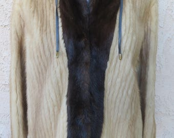 Vintage early 1960's blonde/brown real mink fur jacket sz M glam mod
