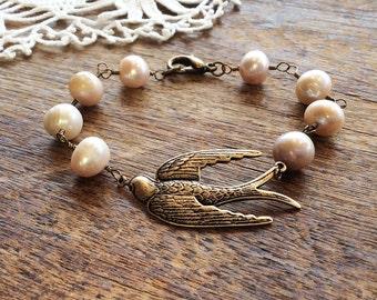 Bronze Swallow & Pearl Bracelet - bird bracelet swallow bracelet pearl jewelry