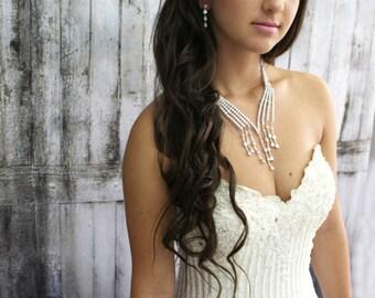 Bridal Necklace, Wedding Cubic Zirconia Jewelry Set, Wedding Jewelry Set, Wedding Necklace, Bridal Statement Jewelry