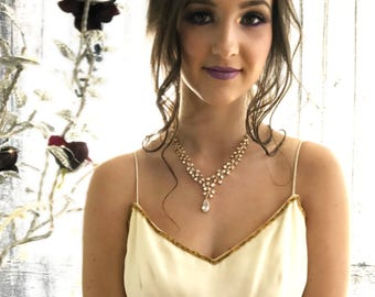 Vintage inspired gold necklace jewelry set, Gold bridal necklace jewelry set, gold vine necklace, cubic zirconia jewelry set