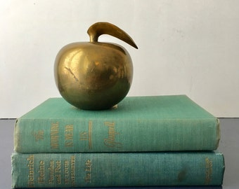 vintage large solid brass apple figurine
