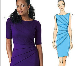 Butterick B5559 Maggy London Dress with Sunburst Tucks and Sleeve Options Sewing Pattern