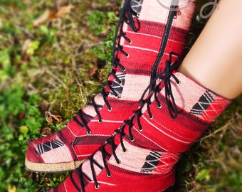 Women's Tribal Vegan Boots, Women's Pink Boots, Tribal Boots, Vegan Boots, Pink Boots, Hippie Boots, Boho Boots, Gypsy Boots, Ethnic Boots