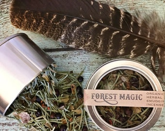 "Organic Herbal Smudging Incense - ""Forest Magic"" - Noble Fir, Juniper Berries, Bearberry Leaves, and Bloodroot"