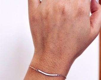 Sterling Silver or Gold-Filled Simple Curved Bar Adjustable Bracelet  | Free Shipping on orders 30+