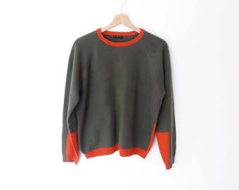 Vintage Italian Sisley Virgin Wool Mix Winter Olive Green and Organe Sweater, sz. XL